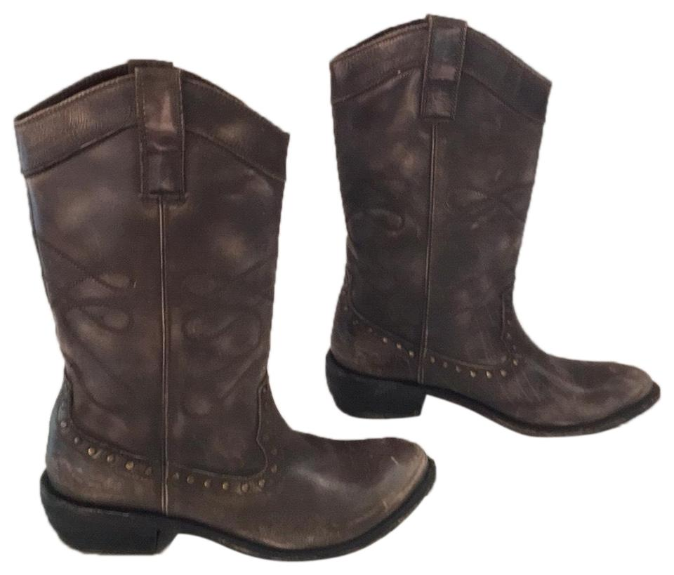 Diba Brown Boots/Booties Lie Lack Leather Western Boots/Booties Brown 9d311b
