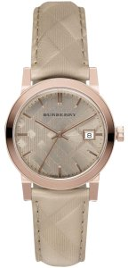 Burberry $595 NWT Swiss The Classic Round Trench Check Strap Watch BU9154