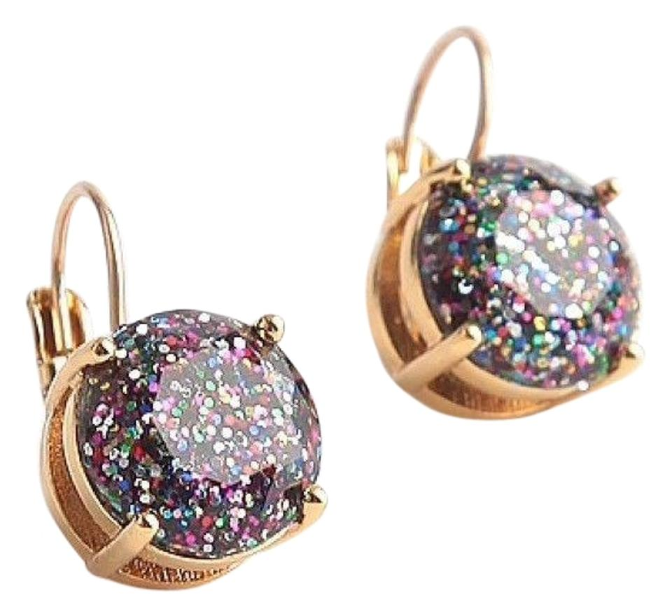 Kate Spade Brand New Glitter Round Leverback Earrings Multi Color Gold
