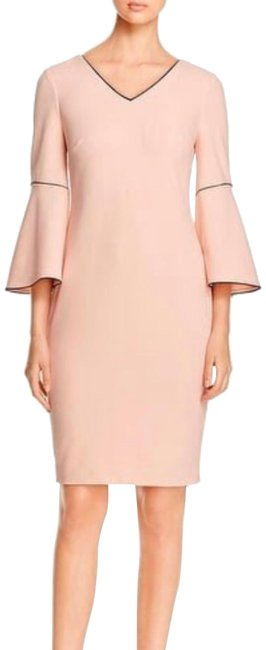 Item - Blush Pink Bell Sleeve with Black Piping Mid-length Work/Office Dress Size 16 (XL, Plus 0x)