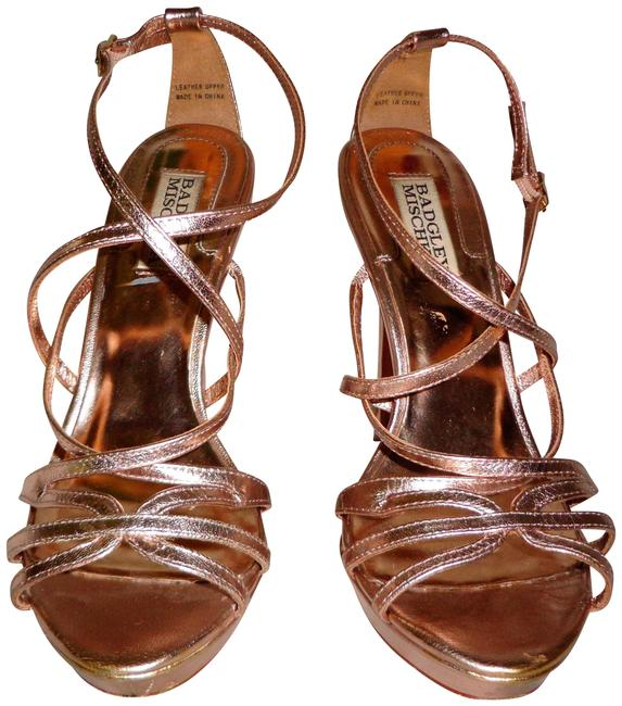 Item - Rose Gold Leather High Heel Platform Sandals/Shoes Sandals Size US 7 Regular (M, B)