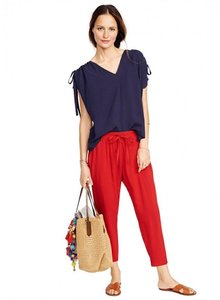 Hatch Collection Lightweight Resort Maternity Jogger Comfortable Capris red