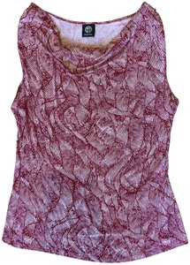 Bobeau Cowl Neck Draped Sleeveless Printed Top Red/White