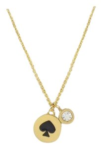 "Kate Spade Kate Spade ""Spot the Spade"" Black/Gold Tone Double Pendant Necklace"
