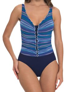 Profile by Gottex Multi-Color Blue Lagoon Ruffled One Piece Tank Swimsuit