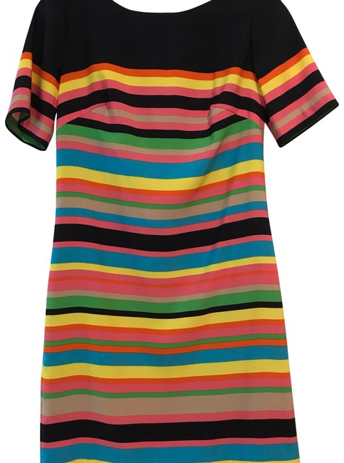 Item - Navy Blue with Multicolored Stripes Short Work/Office Dress Size 2 (XS)