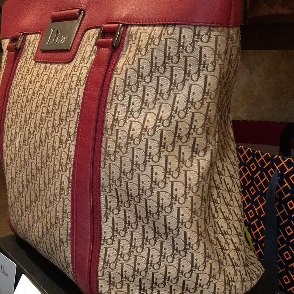 Tote Mixed Fabric Dior Beige Bordeaux Leather wAXWOYq