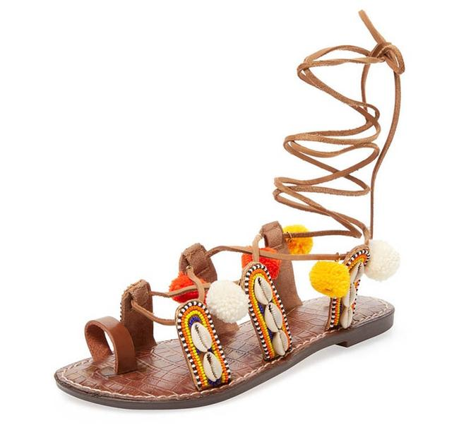 Item - Multicolor Pom Pom and Shells Lily Lace Up Sandals Size US 9 Regular (M, B)