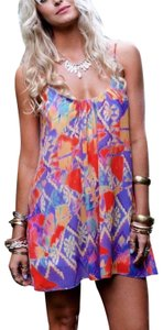 Show Me Your Mumu short dress Yellow/Purple/Orange/Blue/Green Multicolor Swingy Bohemian Festival Wedding Guest Party Long Draped Maxi Coverup Beach Tunic on Tradesy