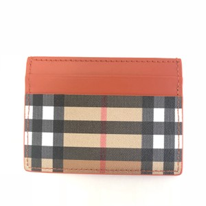 Burberry Burberry Vintage Check and Leather Card Case Clemente orange