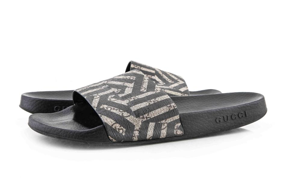 7bfcdd94630 Gucci   Black Beige Ebony Gg Supreme Canvas with Caleido Print Shoes Image  0 ...