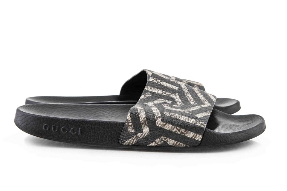 4f6dbe45b69 Gucci   Black Beige Ebony Gg Supreme Canvas with Caleido Print Shoes Image  7. 12345678