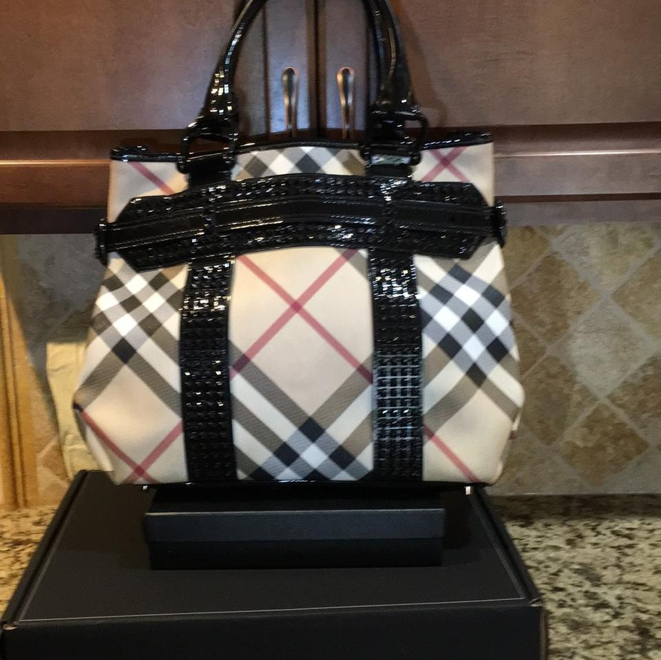 3d06d29cd14c Burberry Supernova Canvas Check Coated Patent Leather Tote - Tradesy