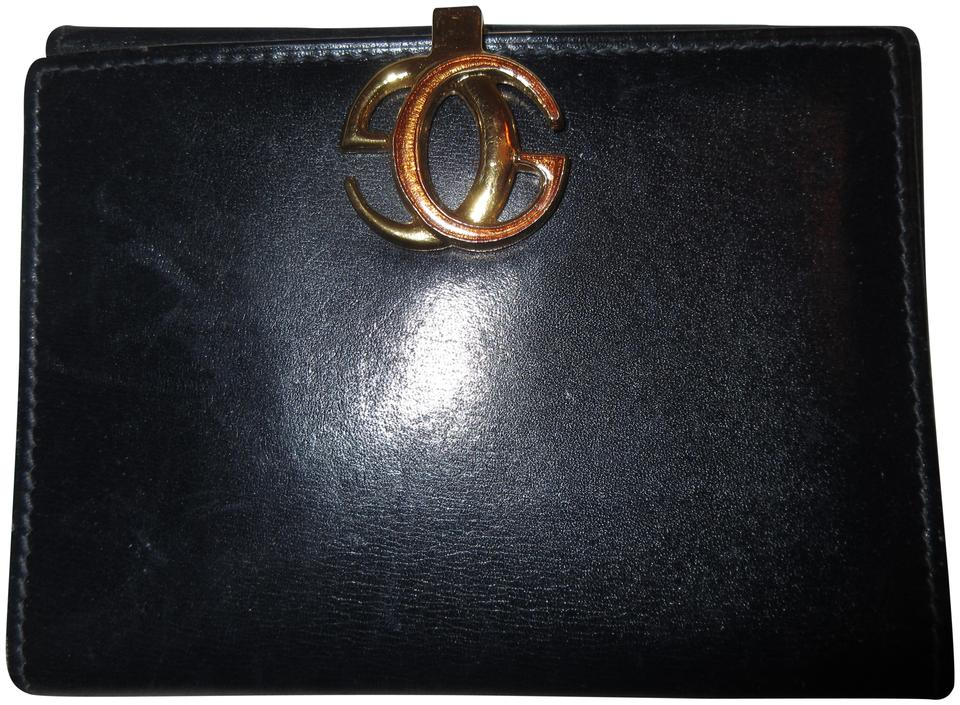 14a562f0d90b Gucci Black Vintage Leather Iconic Interlocking G Logo Clasp Wallet ...