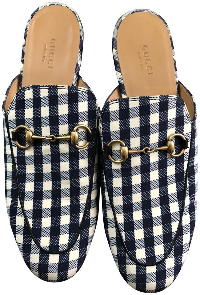 c66151456 Gucci Plaid Princetown Gingham Loafer Mule Flats Size EU 39.5 ...
