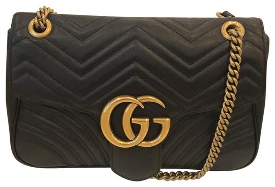 0575269df Gucci Marmont Mm Medium Matalessè Black Leather Shoulder Bag - Tradesy