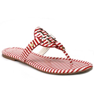 Tory Burch Miller Flip Flop Tb Logo Nautical Stripes Red Sandals