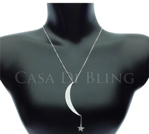 CasaDiBling .925 sterling silver crescent moon and star necklace