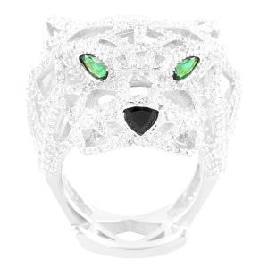 Master Of Bling Men's 14k White Gold Finish Emerald Eyes Panther Sterling Silver Ring