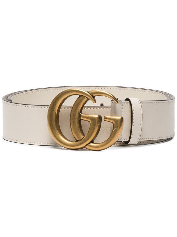 2ea3cfc6cbb Gucci Bianco White Gg Logo Leather Size 100 Wide 4cm Belt - Tradesy