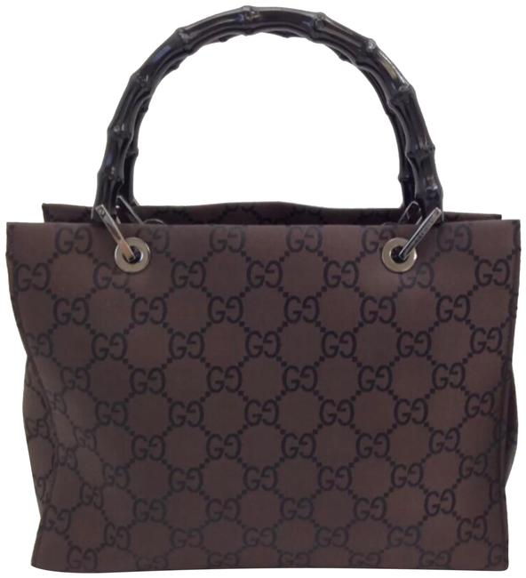 Gucci Monogram Gg Tote with Bamboo Handles Brown Canvas Satchel Gucci Monogram Gg Tote with Bamboo Handles Brown Canvas Satchel Image 1