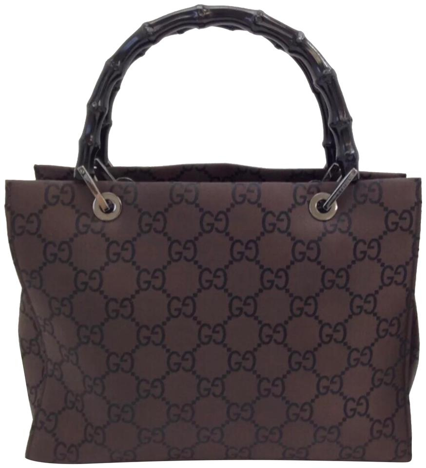 dd8b73045 Gucci Monogram Gg Tote with Bamboo Handles Brown Canvas Satchel ...