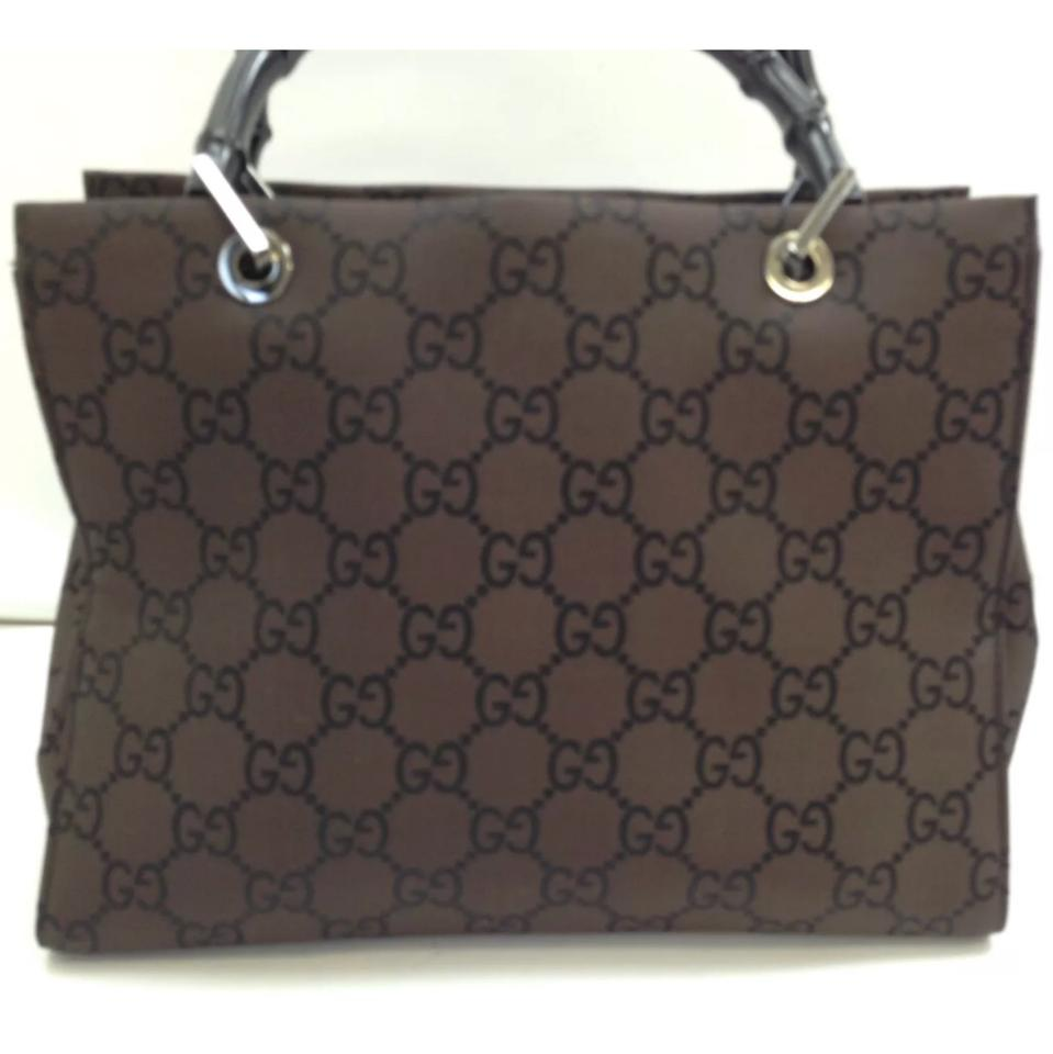 1bee2f6e048c Gucci Monogram Gg Tote with Bamboo Handles Brown Canvas Satchel ...