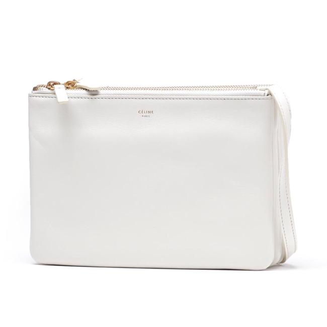Item - Trio In Smooth White Lambskin Leather Cross Body Bag