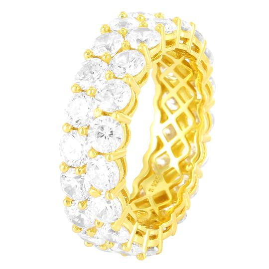Preload https://img-static.tradesy.com/item/23739232/master-of-bling-14k-gold-finish-two-row-solitaire-eternity-sterling-silver-band-ring-0-0-540-540.jpg