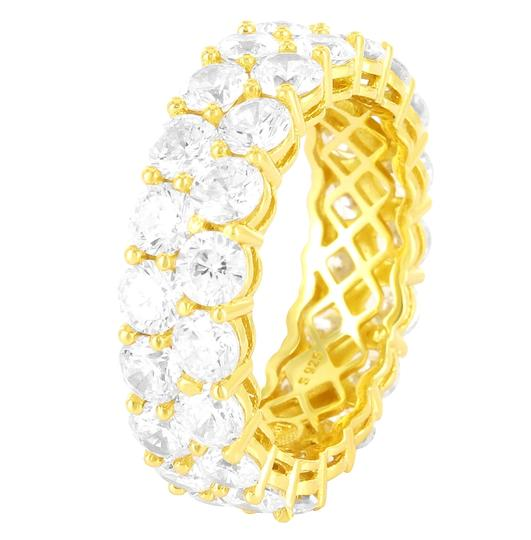 Master Of Bling 14k Gold Finish Two Row Solitaire Eternity Sterling Silver Band Ring Image 2