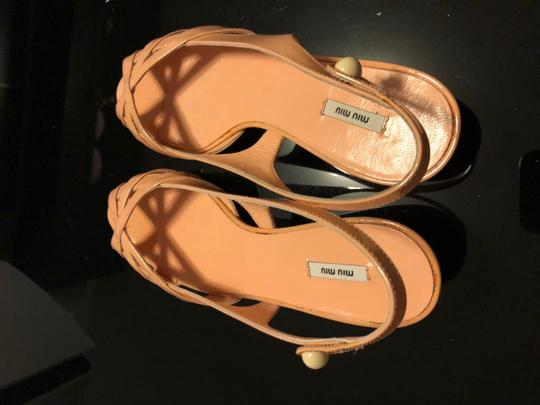 Miu Miu Flats Chanel Leather Strips Ivory/Grey/Gold Sandals Image 3