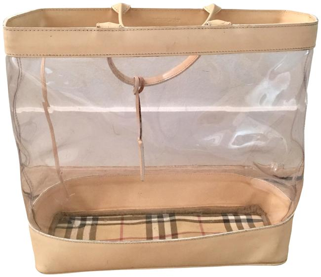 Item - Nova Check Vinyl with Pouch Beige White Black Red Leather Tote