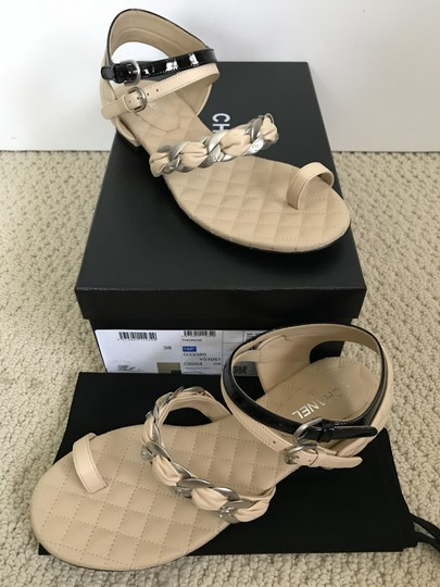 Chanel Leather Chain Logo Quilted Beige Black Sandals Image 1