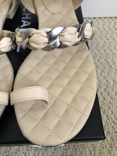 Chanel Leather Chain Logo Quilted Beige Black Sandals Image 10