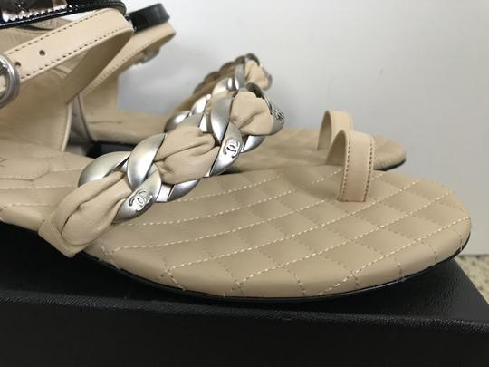 Chanel Leather Chain Logo Quilted Beige Black Sandals Image 3