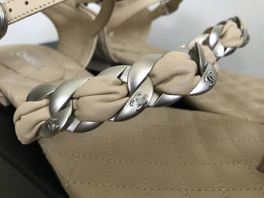 Chanel Leather Chain Logo Quilted Beige Black Sandals Image 4