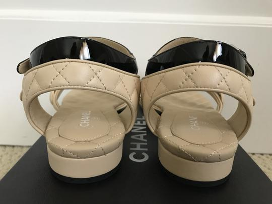 Chanel Leather Chain Logo Quilted Beige Black Sandals Image 8