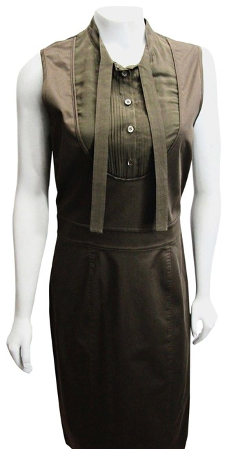 Item - Olive Green Army Sleeveless Knee Length Cotton 44 10 Mid-length Work/Office Dress Size 8 (M)