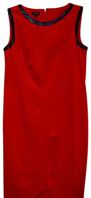 Item - Red New Sleeveless Faux Leather Trimmed Pointe Mid-length Work/Office Dress Size 8 (M)