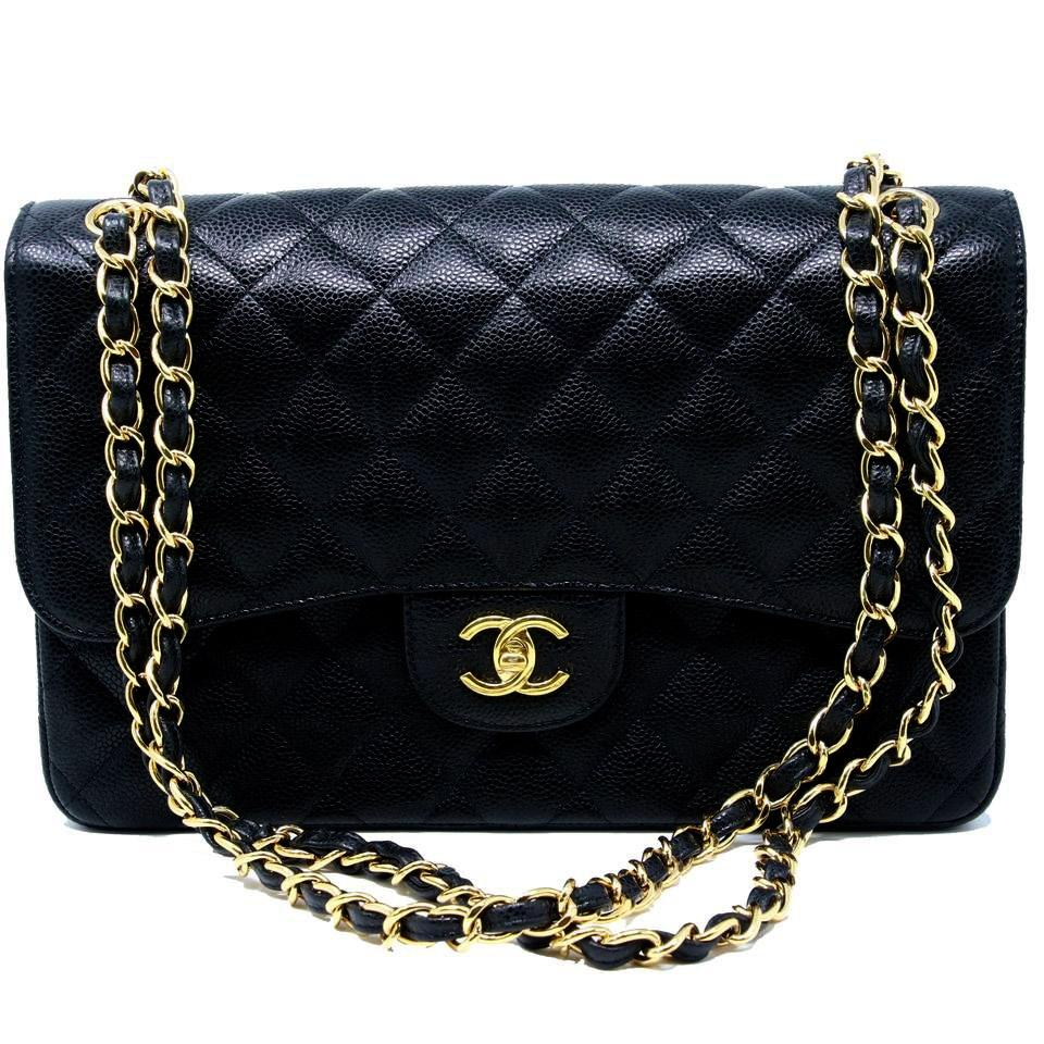 30473bd0dd42 Chanel 2.55 Reissue Classic Maxi Jumbo Double Flap On 14k Gold Black Caviar Shoulder  Bag