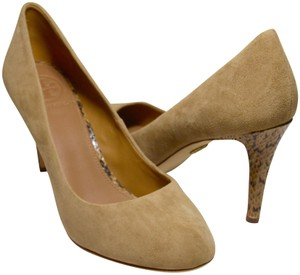 Tory Burch New Round Toe Python Heel All Leather Beige Pumps