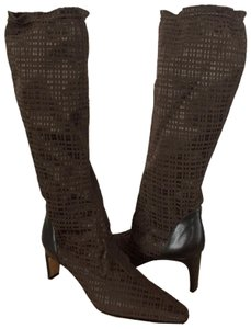 Prevata Knee High Stretch Made In Italy Textile Leather Pull On Brown Boots