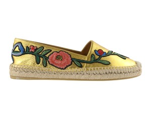 Gucci Embroidered Metallic Espadrille Gold Flats