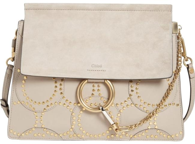 Chloé Faye' Grey Suede Calfskin Leather Shoulder Bag Chloé Faye' Grey Suede Calfskin Leather Shoulder Bag Image 1