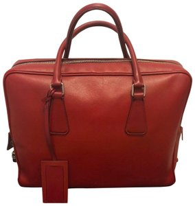 Prada Leather Saffiano Briefcase Unisex Laptop Bag