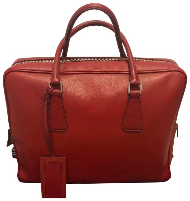 Item - Briefcase Red Saffiano Leather Laptop Bag