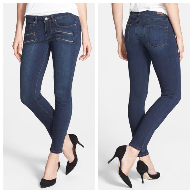 Paige Blue Dark Rinse Transcend - Edgemont Zip Detail Ultra Skinny Jeans Size 0 (XS, 25) Paige Blue Dark Rinse Transcend - Edgemont Zip Detail Ultra Skinny Jeans Size 0 (XS, 25) Image 1