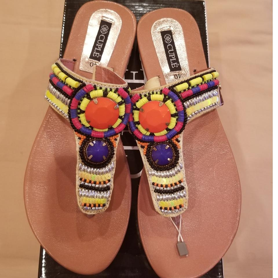 a7928d165f3a6 Multicolor Cuple Summer Fun Flats Beads Bright 10 Sandals Size EU 40 ...