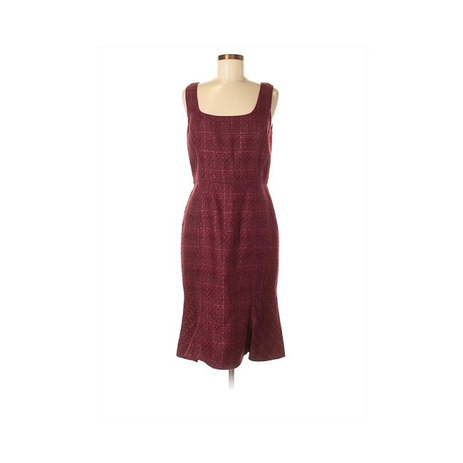 Item - Red Sleeveless Tweed Pleated Mid-length Work/Office Dress Size 8 (M)