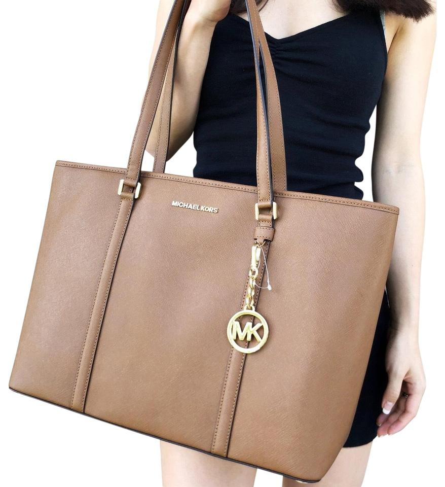 7e312361b9 discount michael kors sady large multifunctional top zip tote luggage brown laptop  bag 6c1d1 67849  get michael kors top zip laptop leather tote in luggage ...